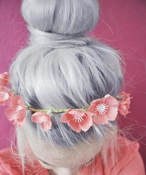 grey hair pink poppies head band