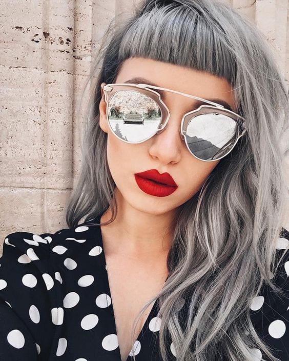 grey hair short bangs hipster