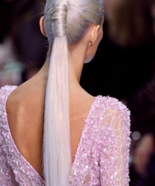 grey hair slick pony tail