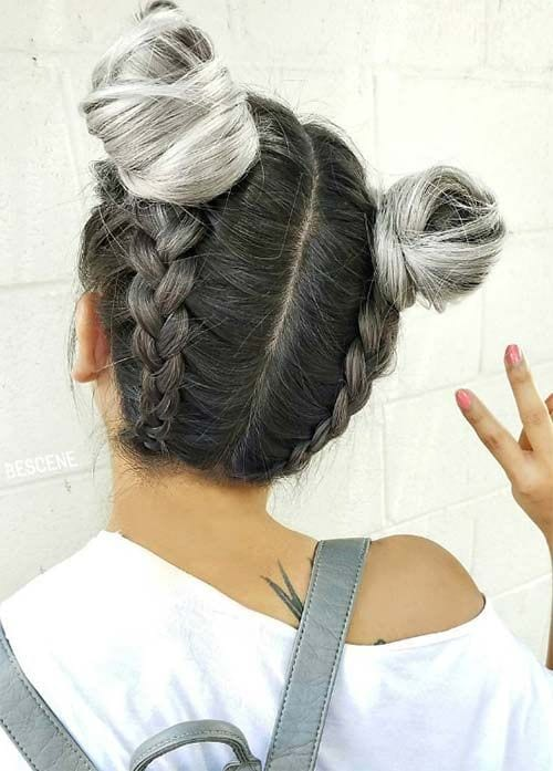 grey hair top knots and braids