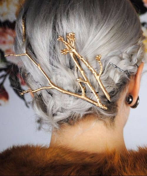 grey hair twig golden embellishments