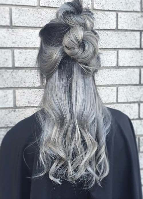 grey hair two top knots messy