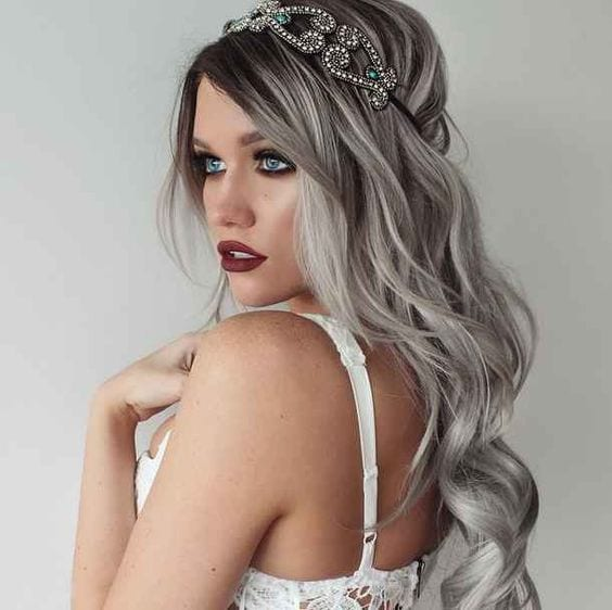 grey hair with embellishments