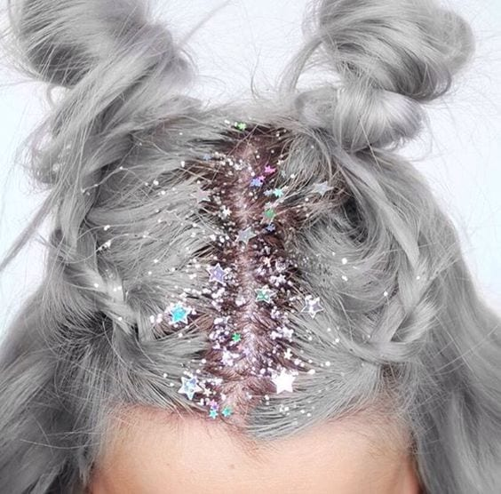 grey hair with holiday sparkles