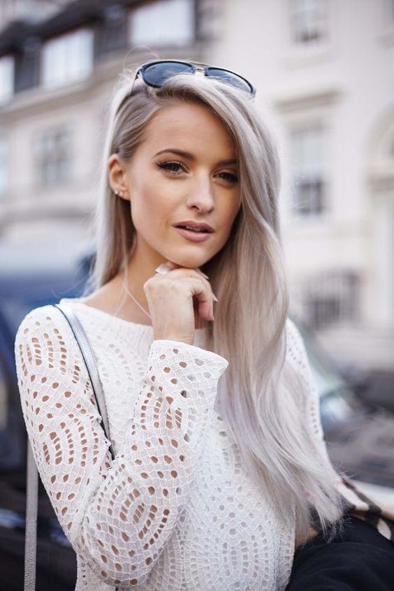 grey hair with rose gold hues