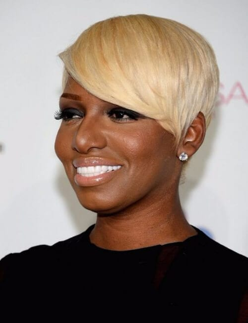 icy blonde short hairstyles for black women
