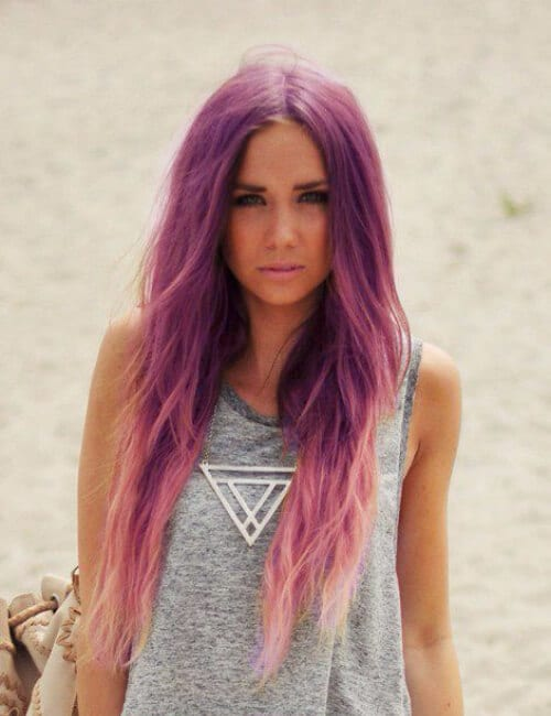 long straight layered purple hair