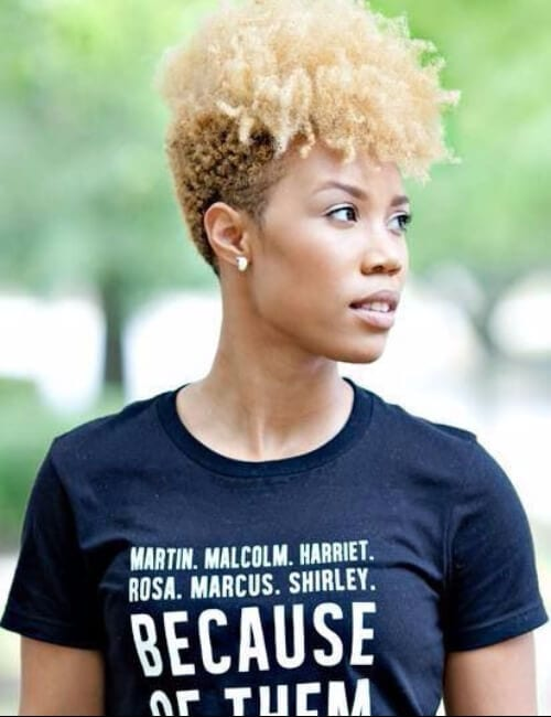 natural blonde afro short hairstyles for black women