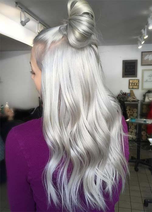 platinum silver grey hair