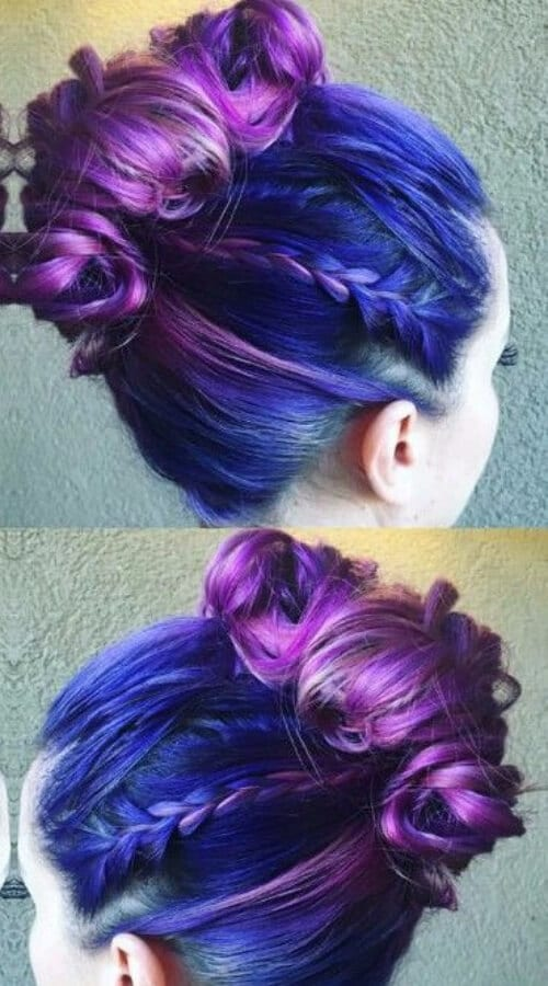 purple hair top knot viking braids