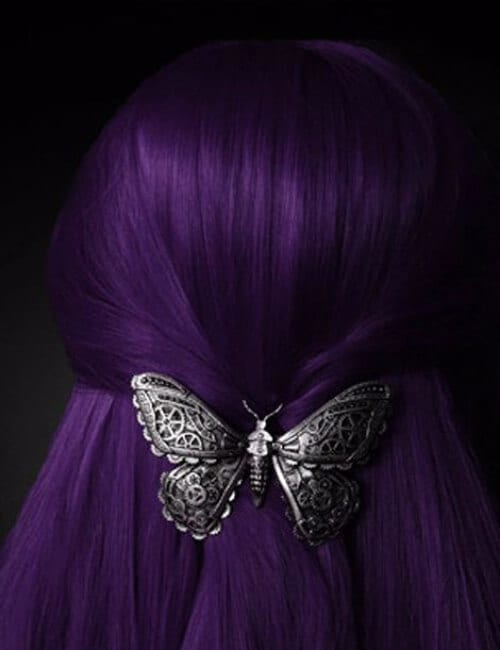 purple hair with steampunk hairpin