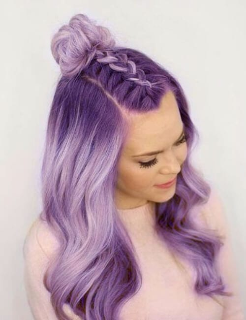 purple hair with top braid