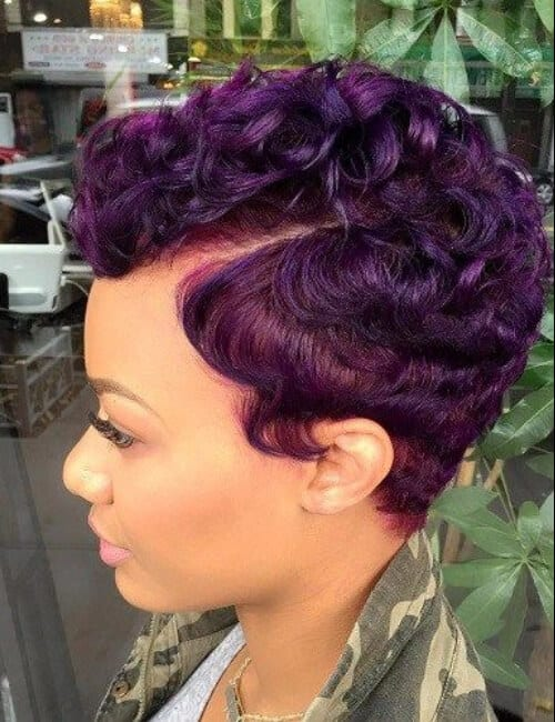 purple short hairstyles for black women