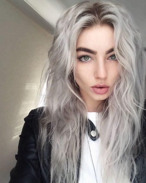 shaggy grey hair