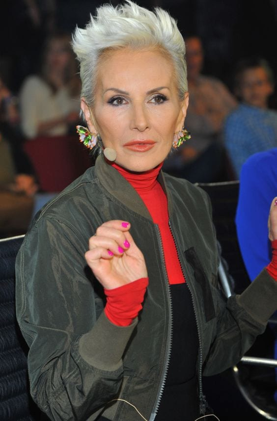 short white grey hair older woman