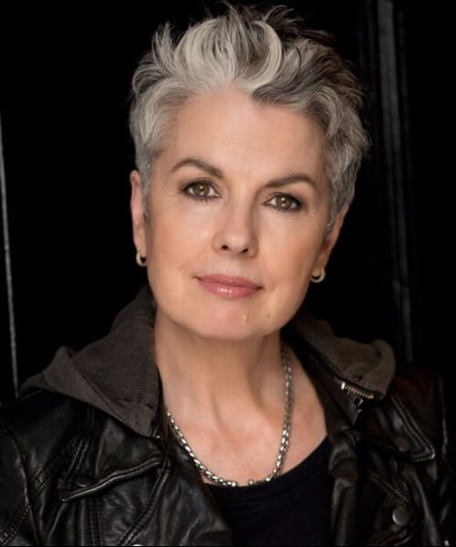 silver grey hair pixie natural