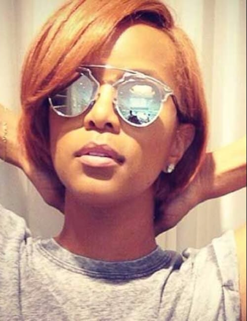 strawberry blonde short hairstyles for black women