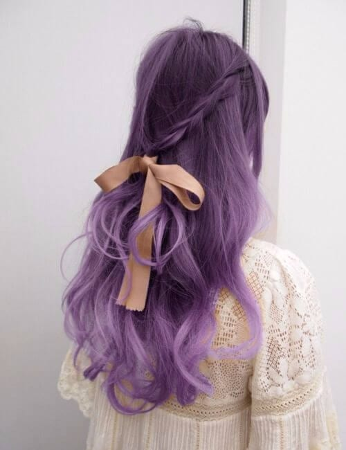 vintage feminine fairy purple hair