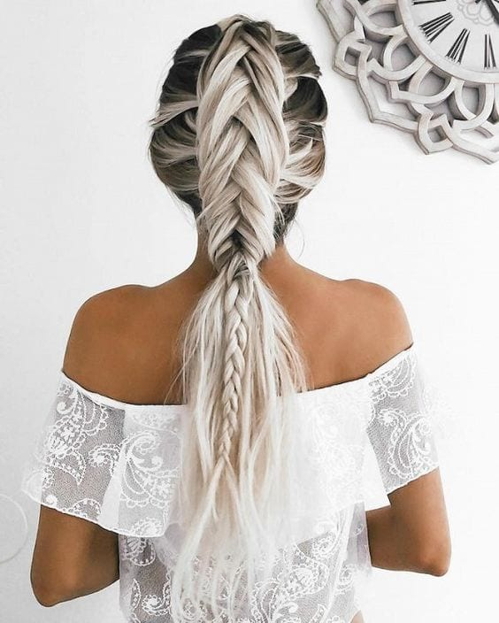 white and grey hair in intricate braid