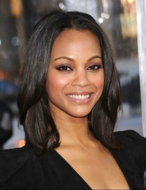 zoe saldana simple bob short hairstyles for black women