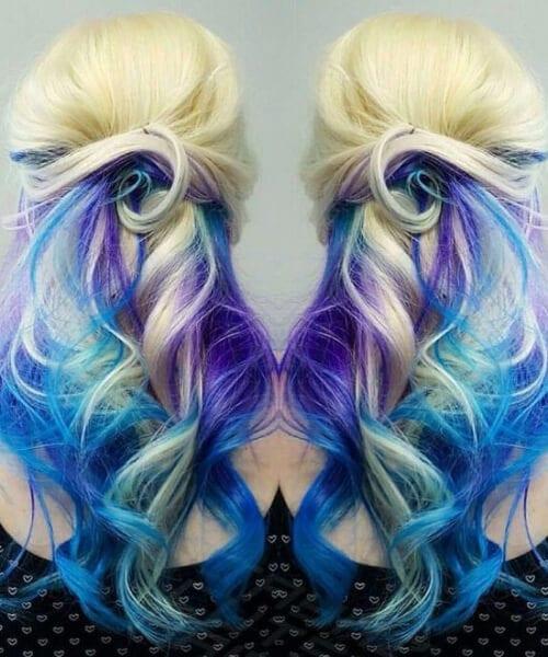 Blonde purple blue mermaid hair