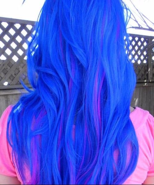 Blue and Neon Violet mermaid hair