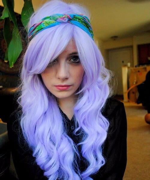Bright lilac purple pastel purple ombre hair
