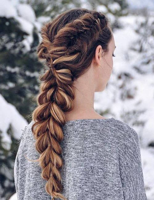 Dutch Fishtails & A Pull-Through Braid updos for long hair