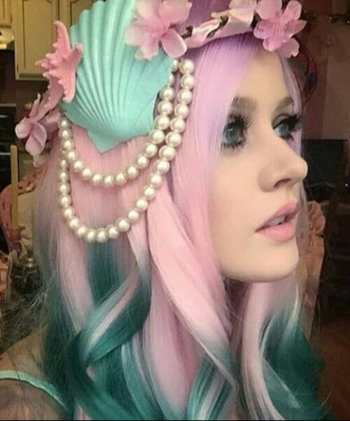 Pink green ombre mermaid hair