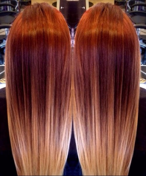 Red melting to blonde ombré balayage red ombre hair