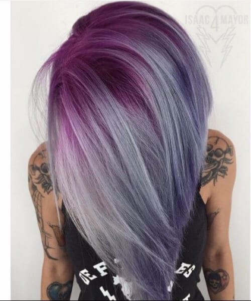 Titanium, Hot Pink, Amethyst Purple and Black Pearl purple ombre hair