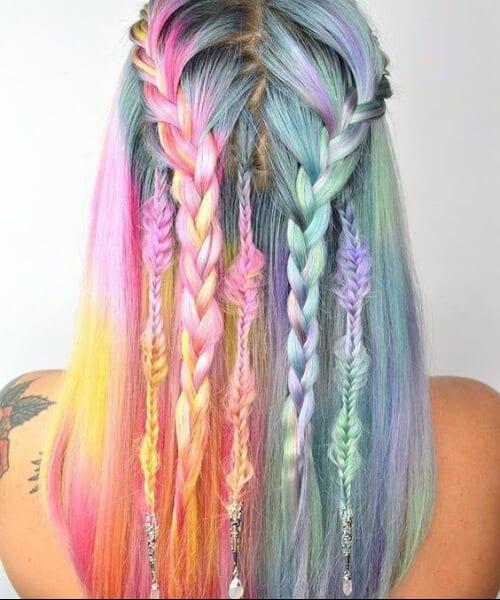Watercolor dreamcatcher mermaid hair