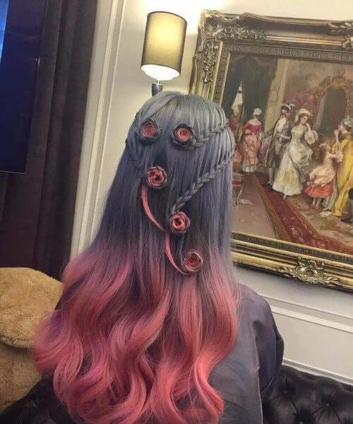 artistic red ombre hair