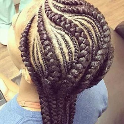 big and small ghana braids