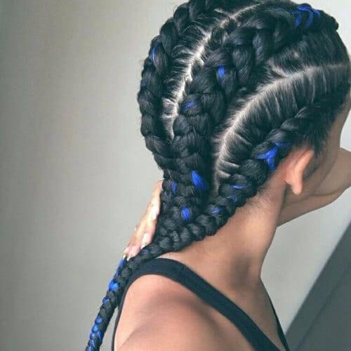 black and blue ghana braids