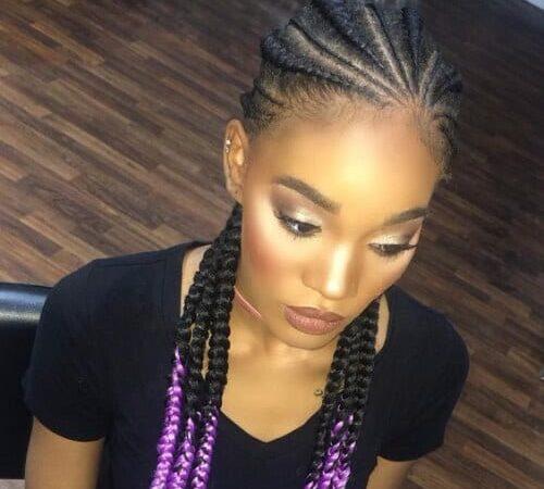 black and purple ghana braids