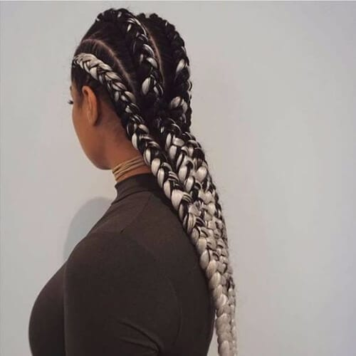 black and white ghana braids