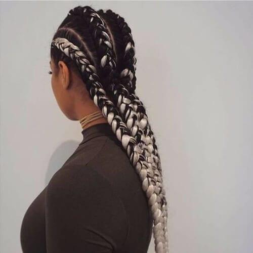 black and white ghana braids