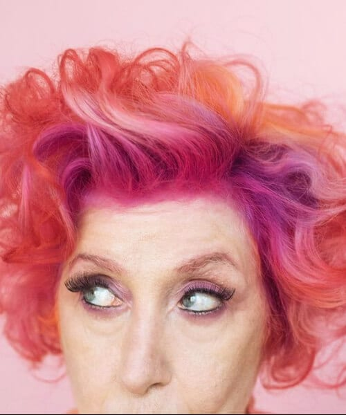 bubble gum pink hairstyles for women over 50