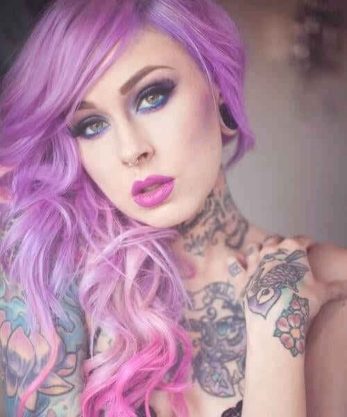 cotton candy purple ombre hair