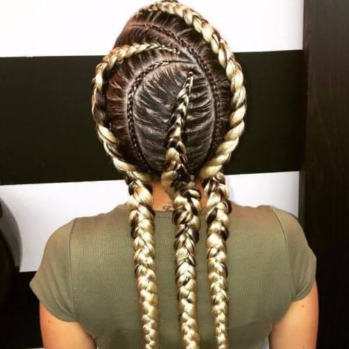 curvy ghana braids blonde extensions