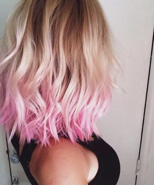 dipped in pink shoulder length hairstyles