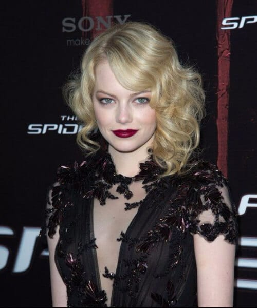 emma stone red carpet faux bob shoulder length hairstyles
