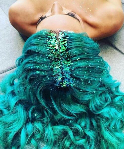 glitter roots mermaid hair