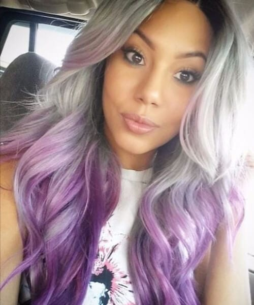 gray and purple ombre hair