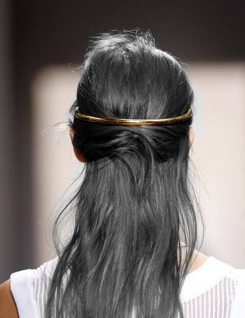 gun metal grey golden band updos for long hair