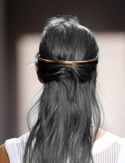 gun metal grey golden band updos for long hair