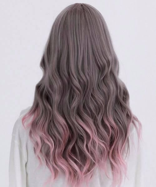 gunmetal grey and purple ombre hair