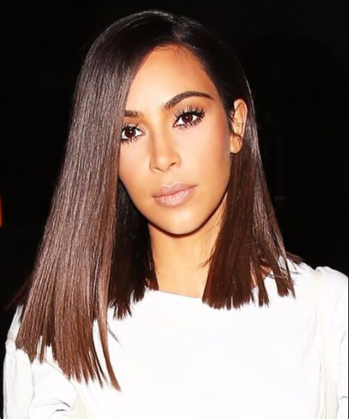 kim kardashian blunt shoulder length hairstyles