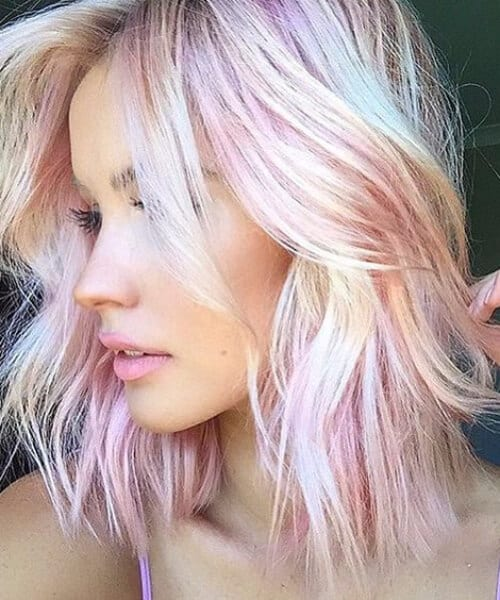light pink shoulder length hairstyles